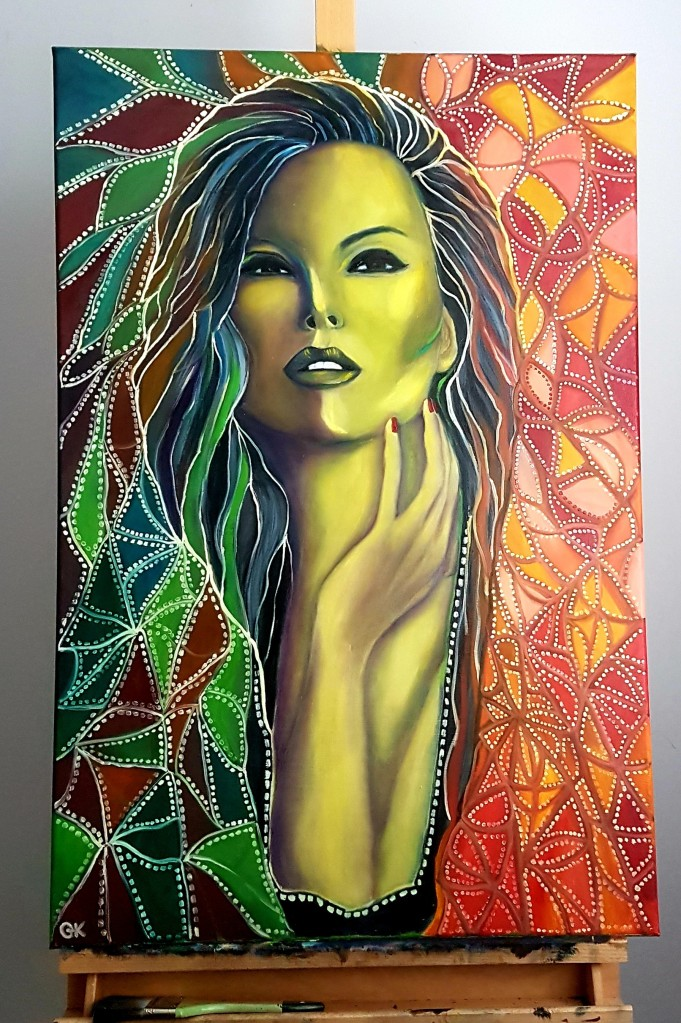 Elegant Original Oil Painting of a Beautiful Woman with Mosaic Background, Contemporary, Modern, Colorful Painting, Art Collection