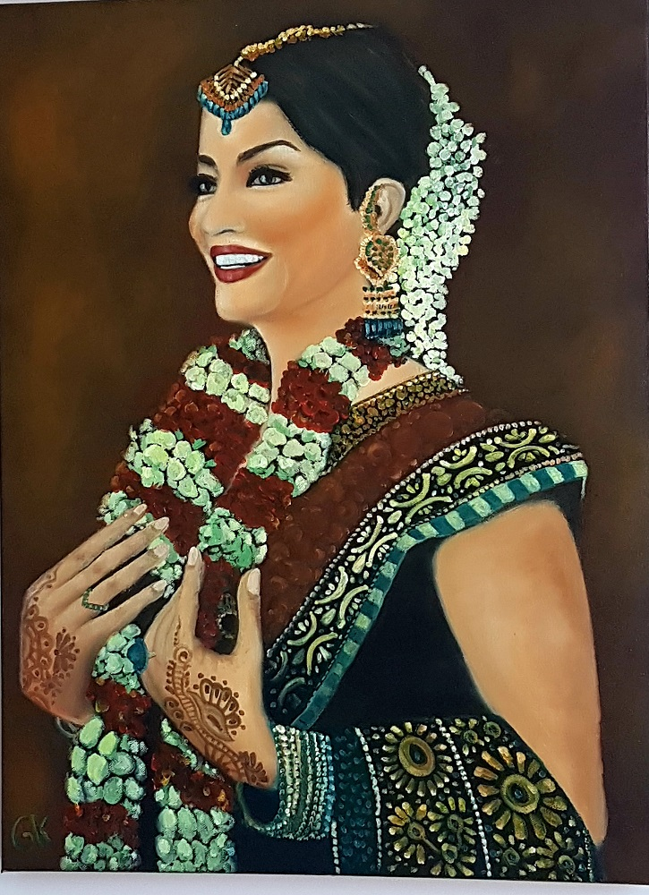 """""""Indian Beauty"""" 18″ x 24″ Original Oil Painting on Canvas by GK"""