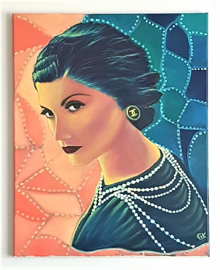 """""""Coco Chanel"""" 16″ x 20″ Original Oil Painting on Canvas byGK"""