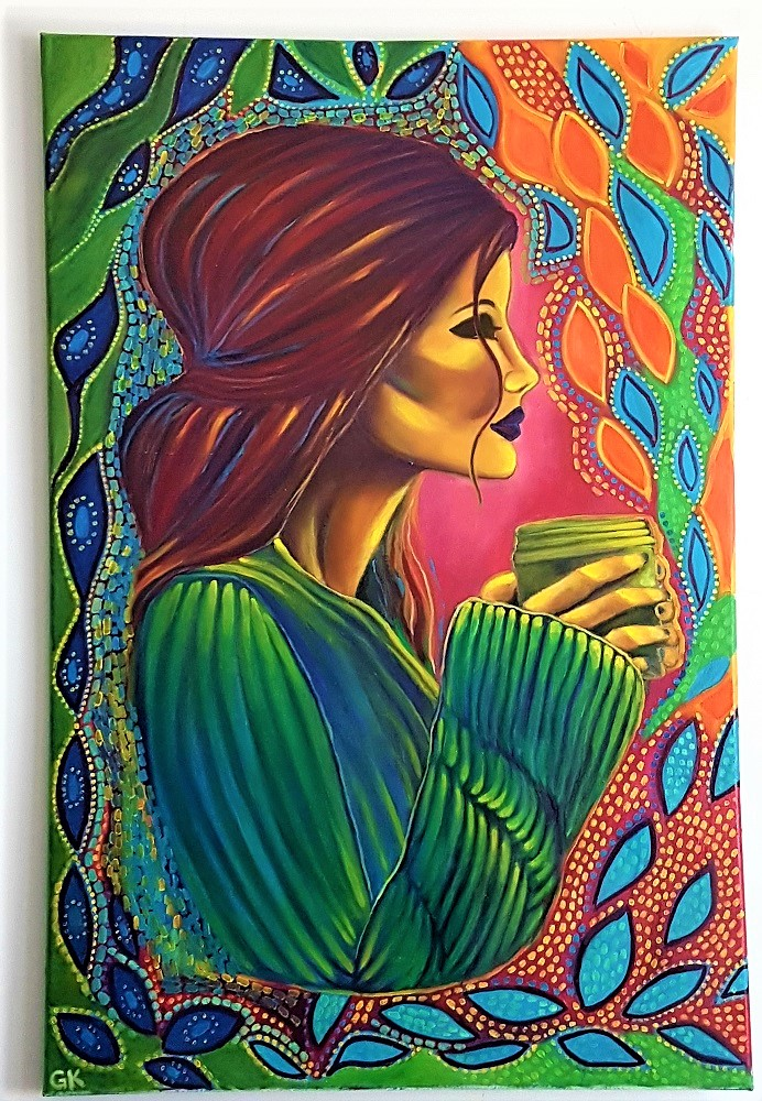 """""""Coffee Bliss"""" 24″ x 36″ Original Oil Painting on Canvas by GK"""