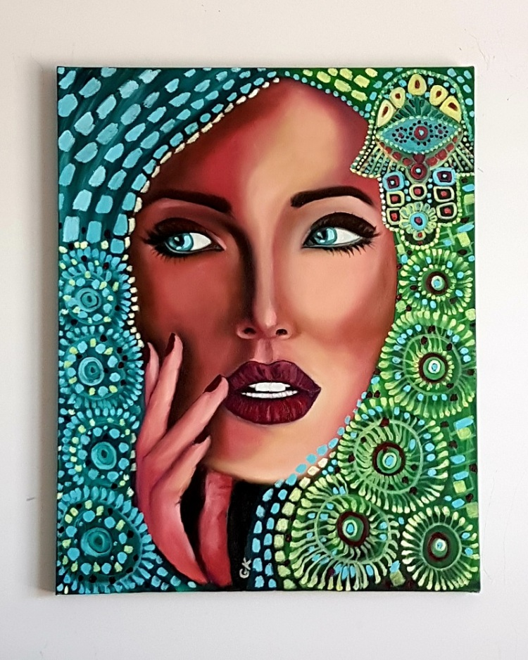 """""""Karma"""" - 16"""" x 20"""" Original oil painting on canvas by GK"""