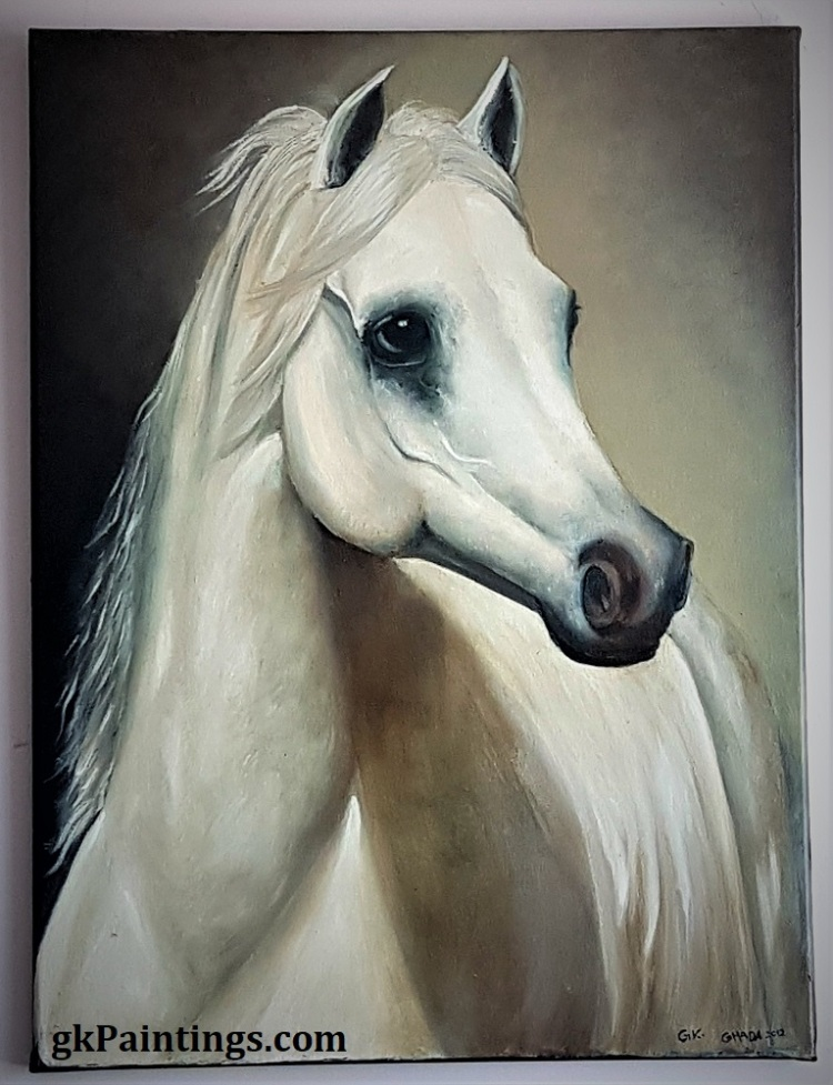 """""""The Contemplating White Horse""""- 18"""" x 24"""" Original oil painting on canvas by GK"""
